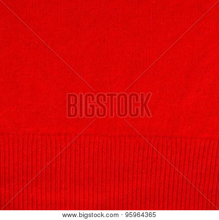 Close Up Of Red Smooth Cashmere Texture