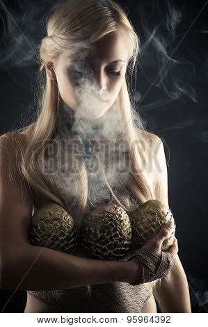 attractive blond with three dragon eggs