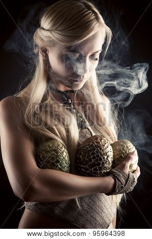 beautiful blond with three dragon eggs