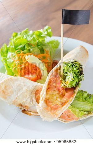 Smoke Salmon Wrap Maxican cuisine