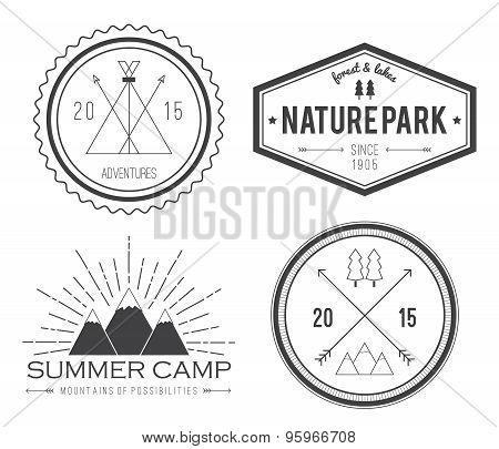 Set Of Vintage Summer Camp Badges And Other Outdoor Logo's, Emblems And Labels