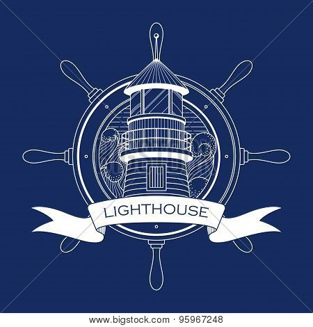 Nautical Logo With A Lighthouse And Steering Wheel