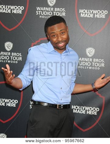 LOS ANGELES - JUL 14:  Justin Hires at the Warner Bros. Studio Tour Hollywood Expansion Official Unveiling, Stage 48: Script To Screen at the Warner Brothers Studio on July 14, 2015 in Burbank, CA