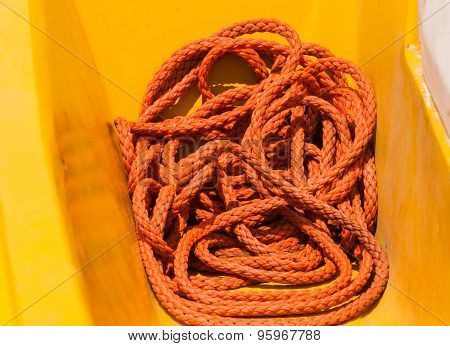 Orange Rope On Fishing Boat