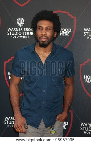 LOS ANGELES - JUL 14:  Nyambi Nyambi at the Warner Bros. Studio Tour Hollywood Expansion Official Unveiling, Stage 48: Script To Screen at the Warner Brothers Studio on July 14, 2015 in Burbank, CA