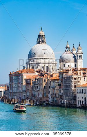 A Boat In Grand Canal In Venice, Italy