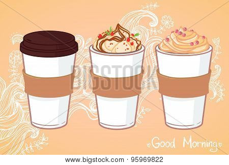 Hand Drawn Vector Illustration - Coffee To Go And Other Sweet Desserts. Background With Waves And Fl