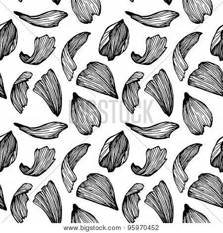 Hand Drawn Vector Seamless Pattern - Rose Petals.