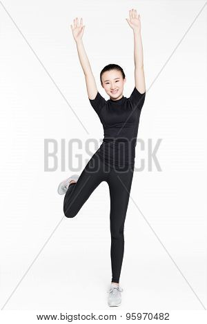 Sports Girl On A White Background