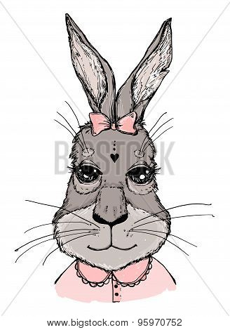 Hand-drawn Vector Illustration. Bunny Girl With Bow. Vintage