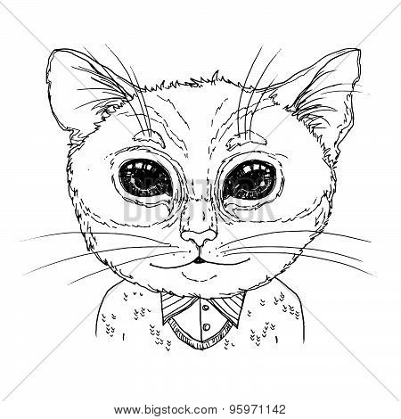 Hand-drawn Vector Illustration. Hipster Cat In Knitted Sweater. Vintage. Isolated On White Backgroun