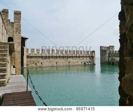 The harbor of the Scaliger Castle in Sirmione in Italy