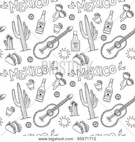Hand-drawn Vector Seamless Pattern - Mexico. Mexico Icons.