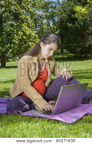 Young Pregnant With Laptop