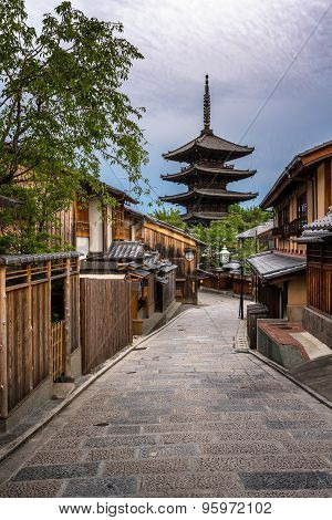 Yasaka Pagoda And Sannen Zaka Street In The Morning, Gion, Kyoto, Japan