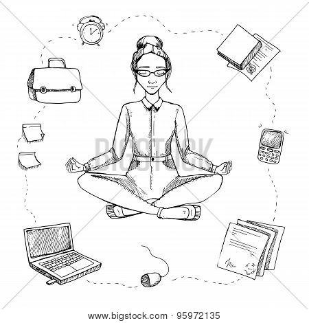 Business Yoga. Girl Is In The Lotus Position. Around Are Computer, Phone, Documents, Alarm Clock, Bu