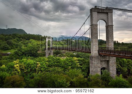 Bridge In Hadanotokawa Park On Overcast Day, Hadano, Kangawa, Japan