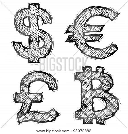 Hand Drawn Money Symbols With Hatching