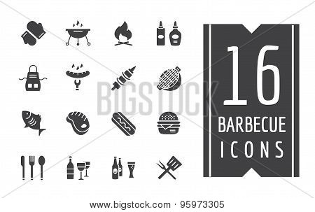 BBQ and Food Icons Vector Set. Outdoor, Kitchen or Meat symbols. Stock design elements.