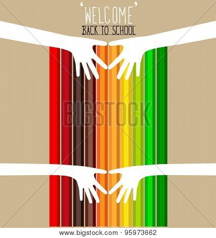 Welcome back to school with hands and Colour pencils background, vector illustration.