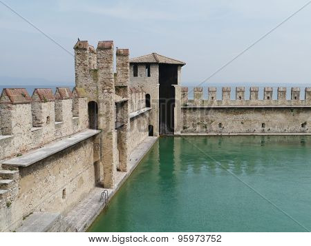 Harbor of the Scaliger Castle at the lago di Garda