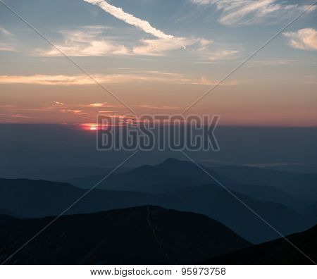 Mountain Scenery At Sunset With A Series Of Peaks
