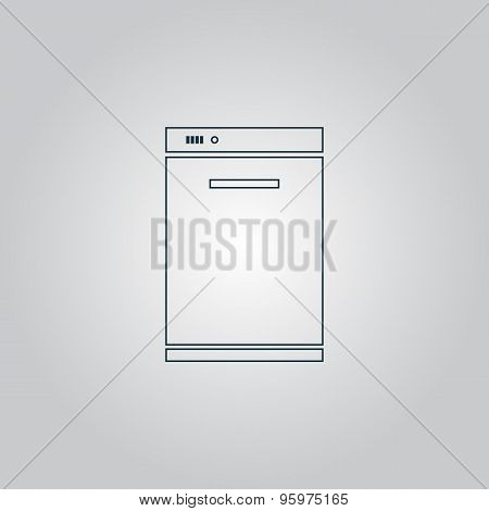 Kitchen - Dishwasher icon, sign and button