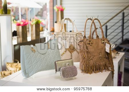 Handbag display at a fashion store