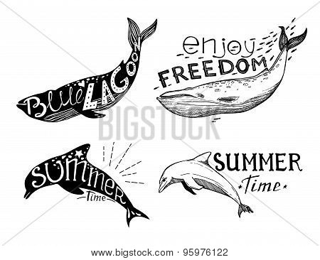 Hand-drawn Vector Illustration - Quote Inscribed In Silhouette Dolphin And Whale. Love Summer