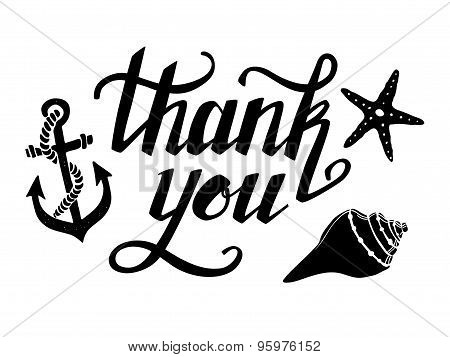 Hand-drawn Vector Illustration - Thank You. Hand Lettering. Calligraphy