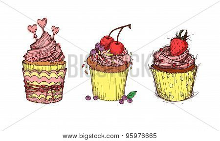 Hand Drawn Vector Illustration - Sweet Cupcakes. St. Valentines Day.