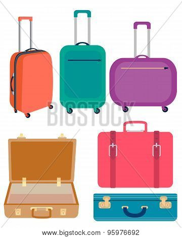 Set suitcases. Modern and vintage suitcases for travel. Vector illustration