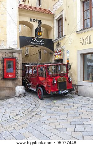 Bratislava, Slovakia - May 07 2013: Tourists in a bus on the streets