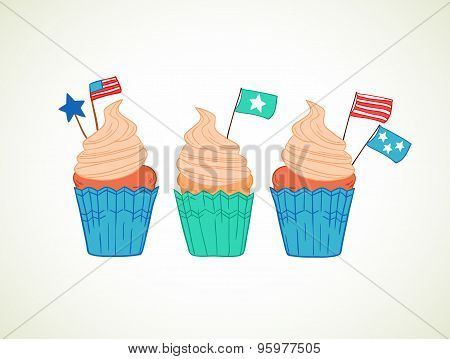 Hand Drawn Vector Illustration - Sweet Cupcakes With Decorations (star, Flags, Usa). Independence Da