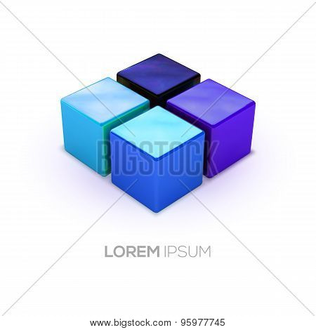 Vector Blue Shadows Boxes Logo