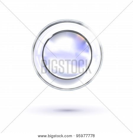 Abstract Metal Luxury Plate At White Background