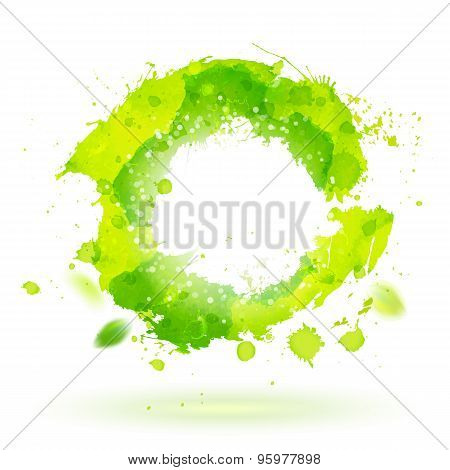 Watercolor Drawing Green Curve Symbol With Splashes