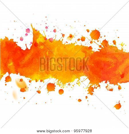 Watercolor Orange Drawing Tape With Splashes