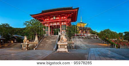 Panorama Of Otowa-san Kiyomizu-dera Temple In The Evening, Kyoto, Japan