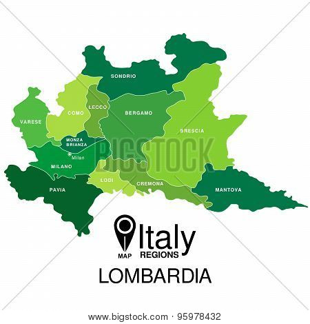 Regions map of Italy. Mappa delle regione Lombardia