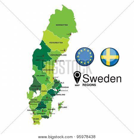 Sweden green Map detailed vector