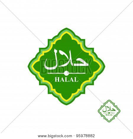 Halal Product Label. Vector Illustration. Text In Arabic