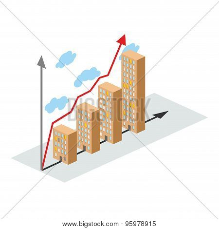 Graphics Construction Growth. Buildings Of City, And Growth. Vector Illustration For A Construction