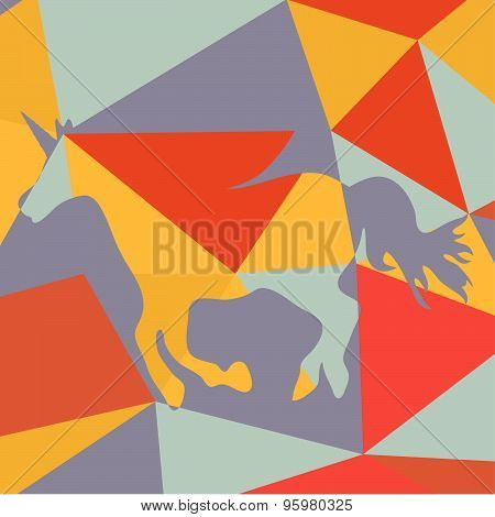 Beautiful running unicorn  horse silhouette on a geometrical background. Vector illustration