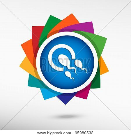 Sperms And Egg Icon Color Icon, Vector Illustration