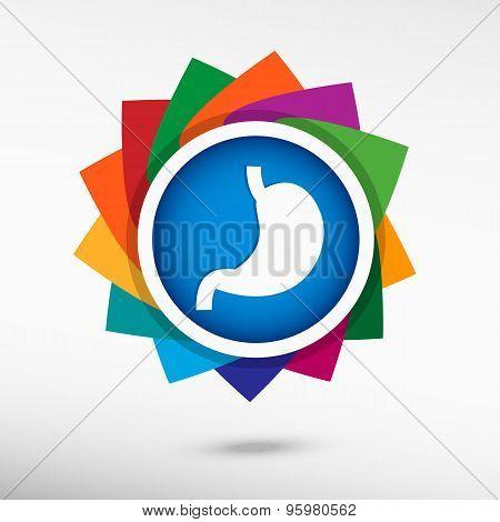 Stomach Icon Color Icon, Vector Illustration