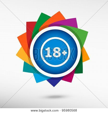 18 Plus Years Old Sign. Adults Content Color Icon, Vector Illustration.