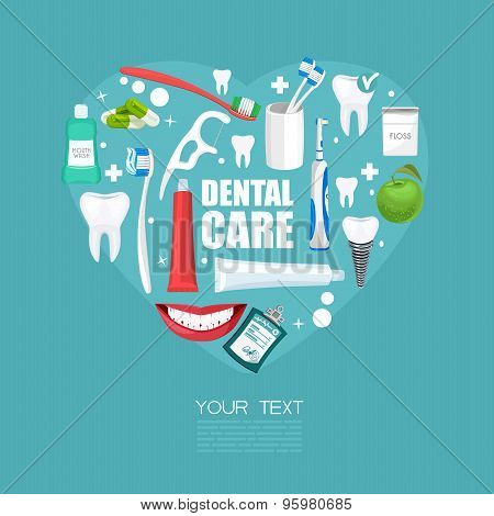Dental care symbols in the shape of heart. Dental floss, teeth, mouth, tooth paste on blue backgroun