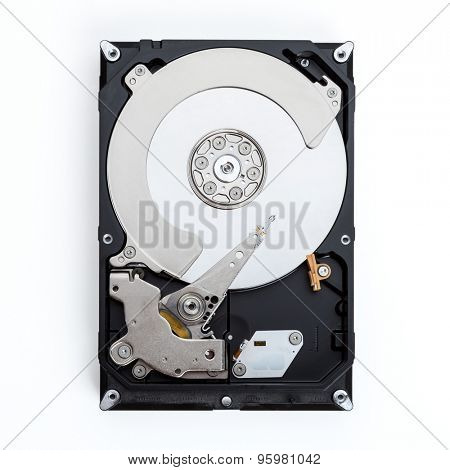 Close up view of a computer hard drive isolated on a white background.