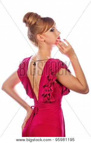 Girl In Evening Dress, With Makeup And Hairdo. Profile.
